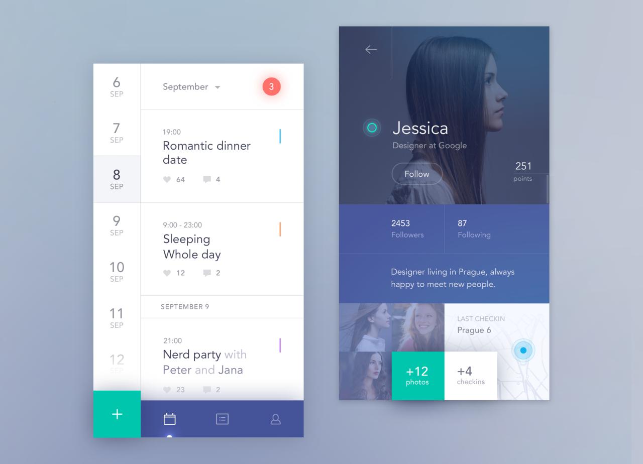 Dribbble social app ui design jpg by ramotion - Dribbble Social Calendar App Mobile By Jakub Antal K