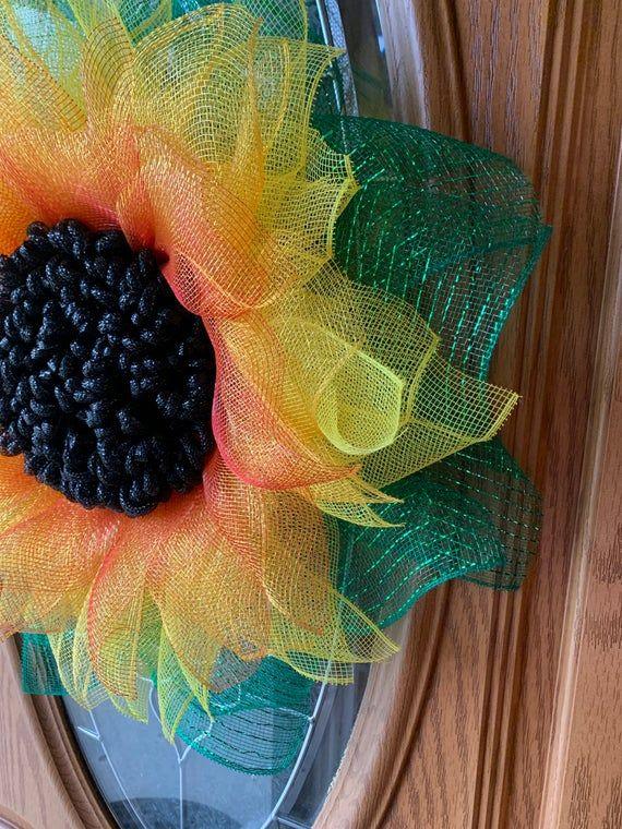 Photo of Sonnenblumenkranz, Maschen-Sonnenblumenkranz, Frühlingskranz, Sommerkranz, Alltagskranz