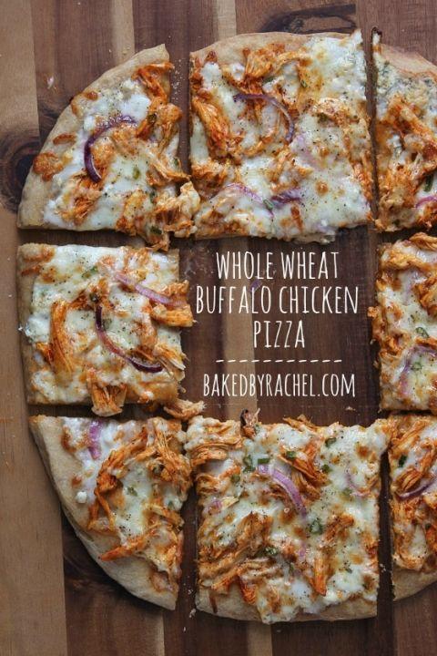 Whole Wheat Buffalo Chicken Pizza Recipe from bakedbyrachel.com