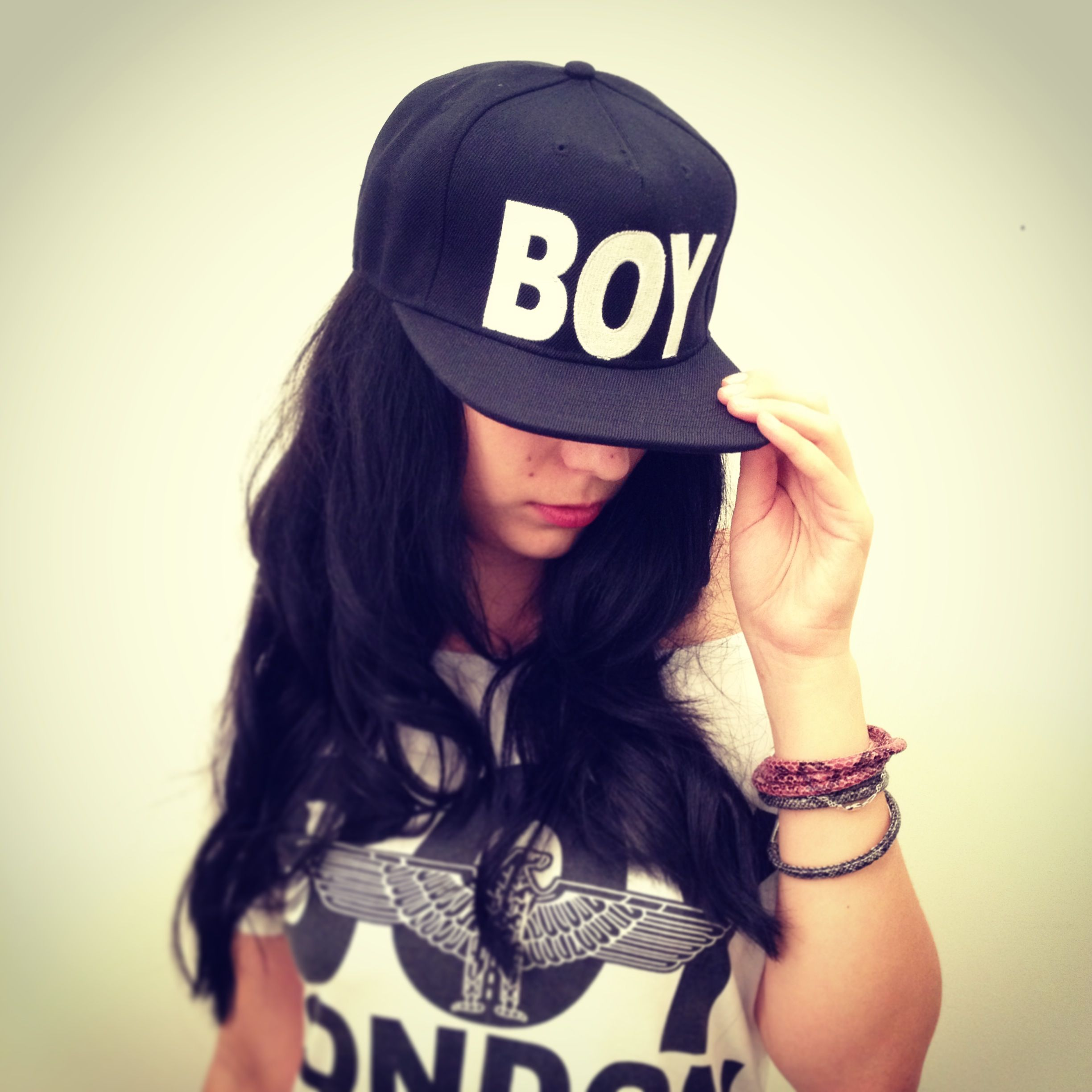 swag hot girl wearing boy london snapback hat and short