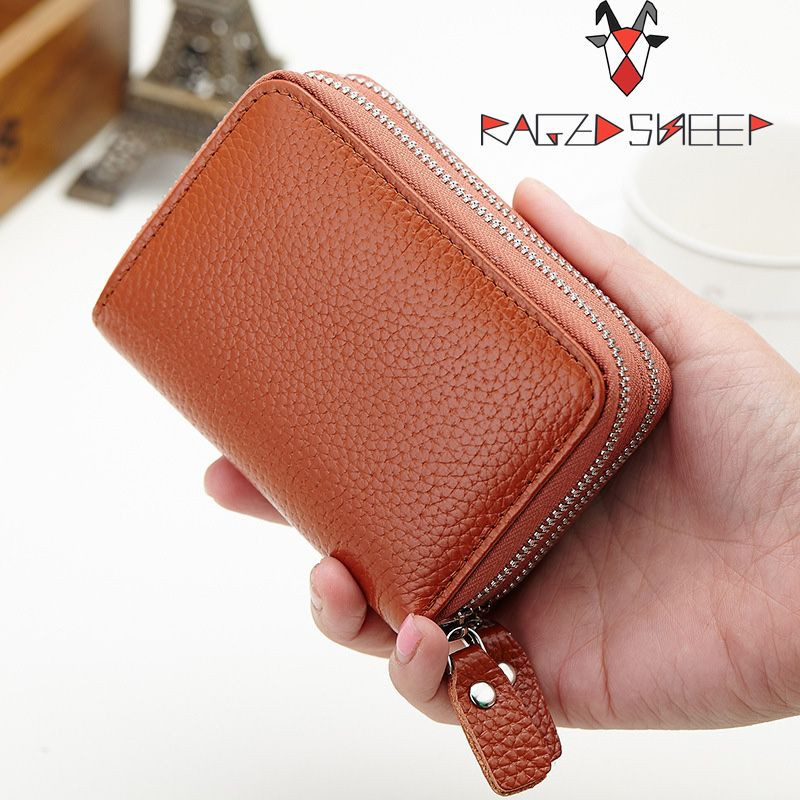Raged Sheep Double Zipper Women Credit Card Holder Genuine Leather ...