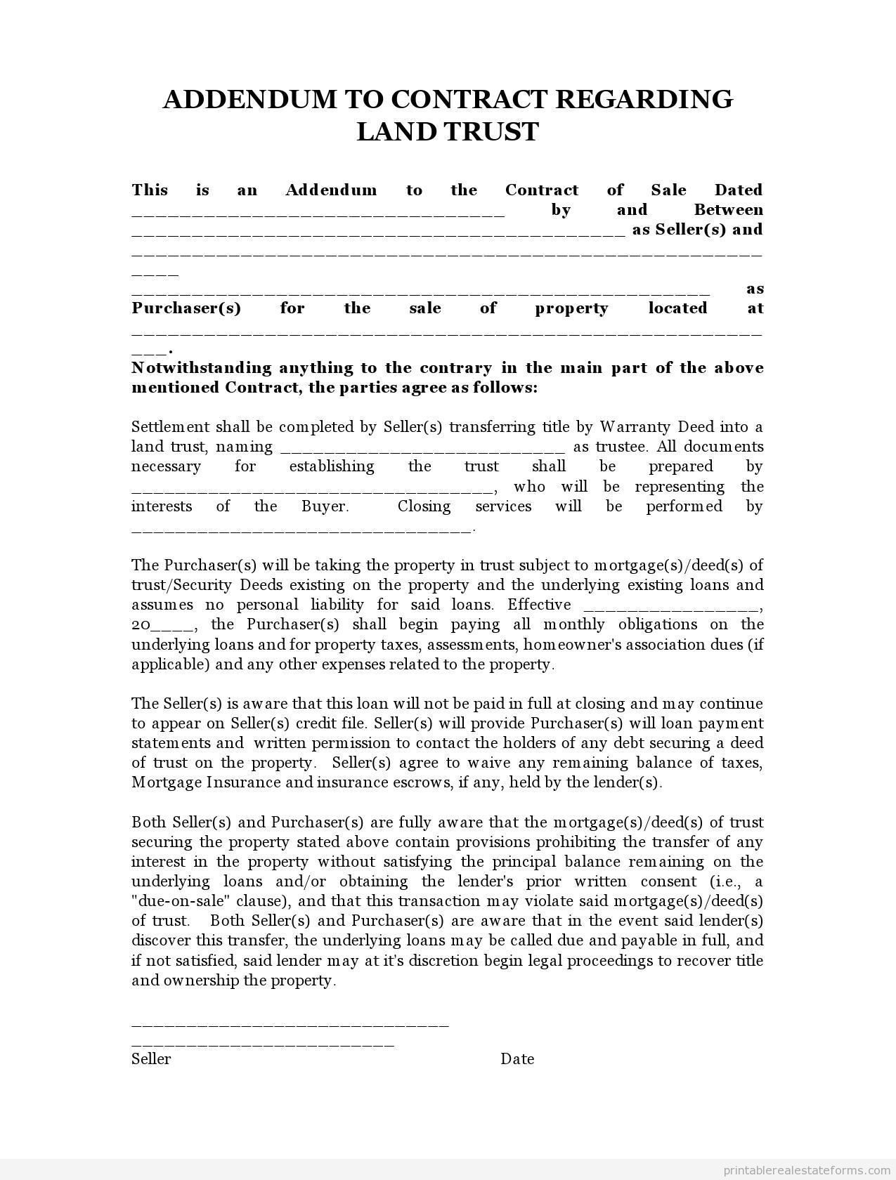 Sample Printable Land Trust Addendum Form  Sample Real Estate