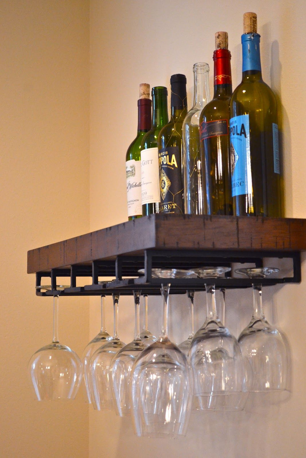 Postagious pottery barn wine glass rack from my blog for Pottery barn wine rack wood