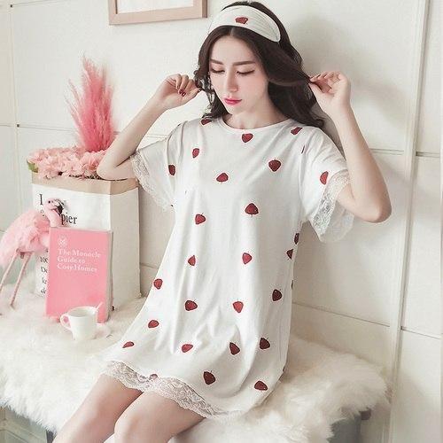 Nightgowns Summer Lace Sleepwear Women Loose Kawaii Trendy Nightdress  Womens Leisure Breathable Nightwear Sweet Students Printed 1a795ac6b