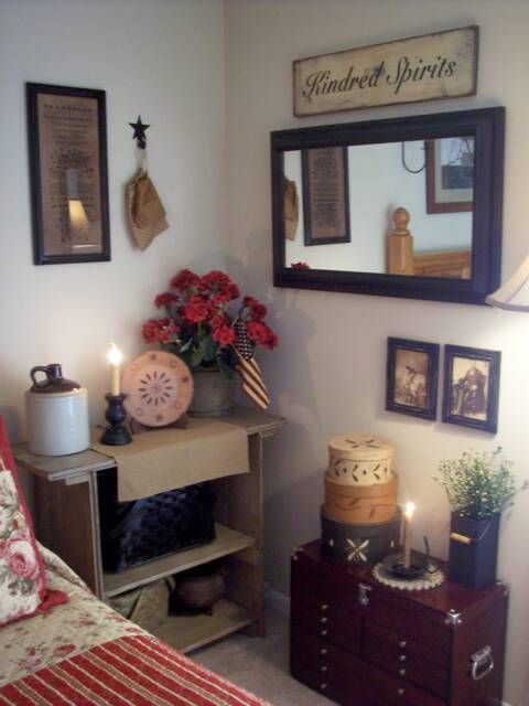 cheap primitive country bedroom decorating ideas | primitive country bedroom; love the geraniums, the ...