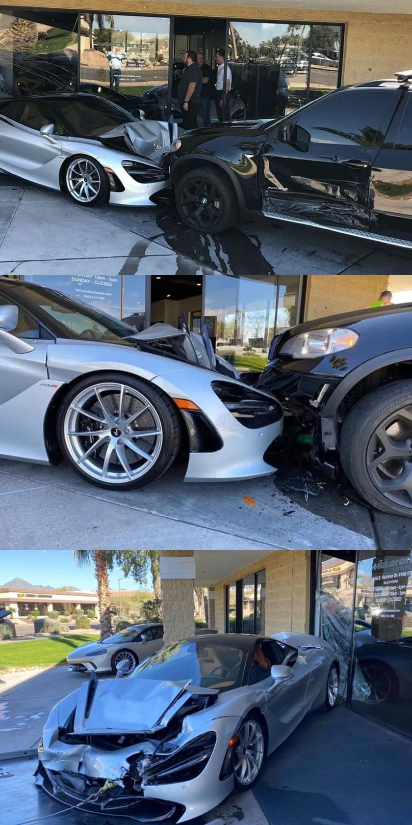 Bmw X5 Crashes Into An Entire Mclaren Dealership A 300000 Mclaren 720s Was Particularly Mangled In 2020 Bmw Bmw X5 Dealership