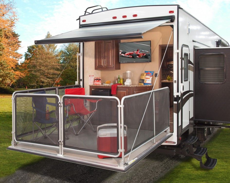 Stylish Bunkhouse With Fold Down Deck Patio Under Folding Canvas Chairs Outdoor Furniture And Portab Outdoor Kitchen Outdoor Kitchen Design Diy Outdoor Kitchen