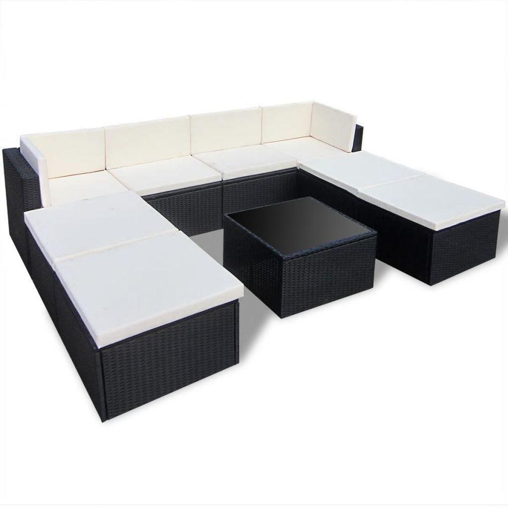 Outdoor Black Rattan Lounge Set White Cushioned Steel Frame Garden