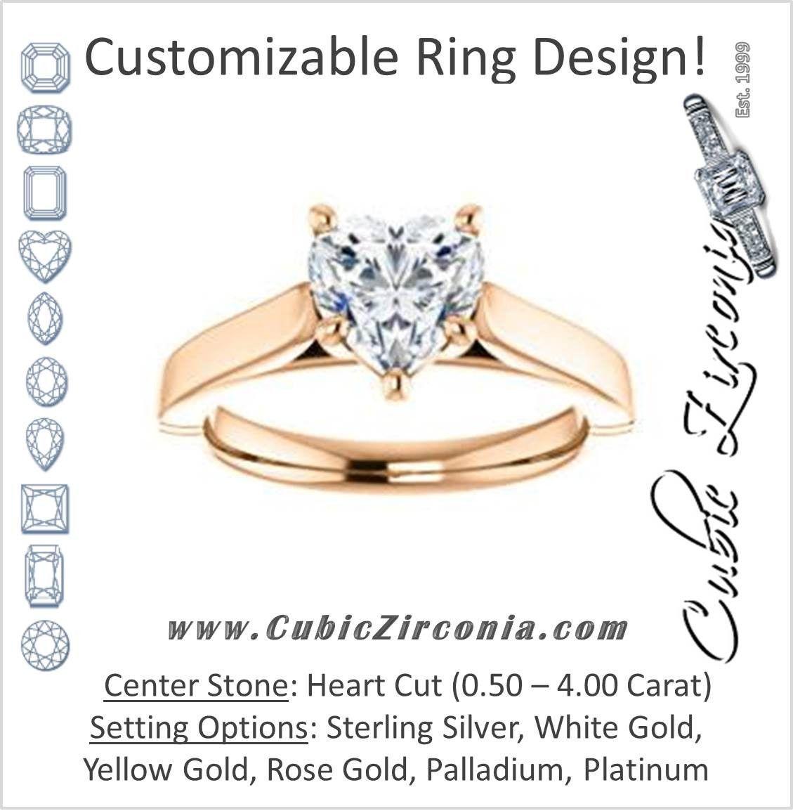Cubic zirconia engagement ring the kaela customizable heart cut