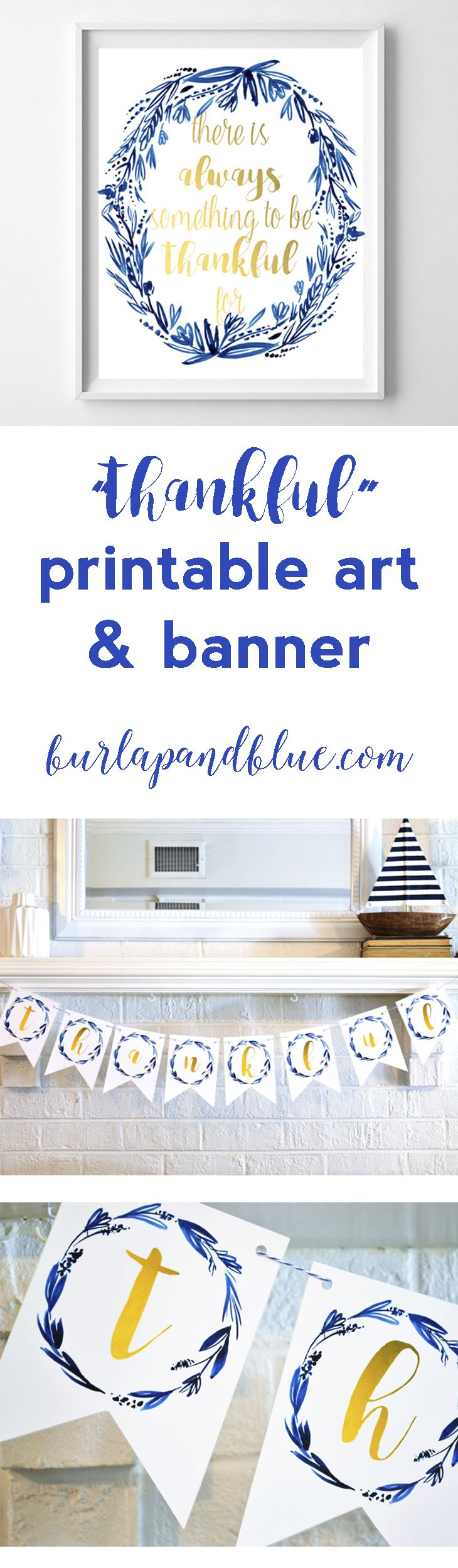 dining room printable art. Be Thankful Free Printable Art Print And Bunting In Indigo Gold Perfect Dining Room N
