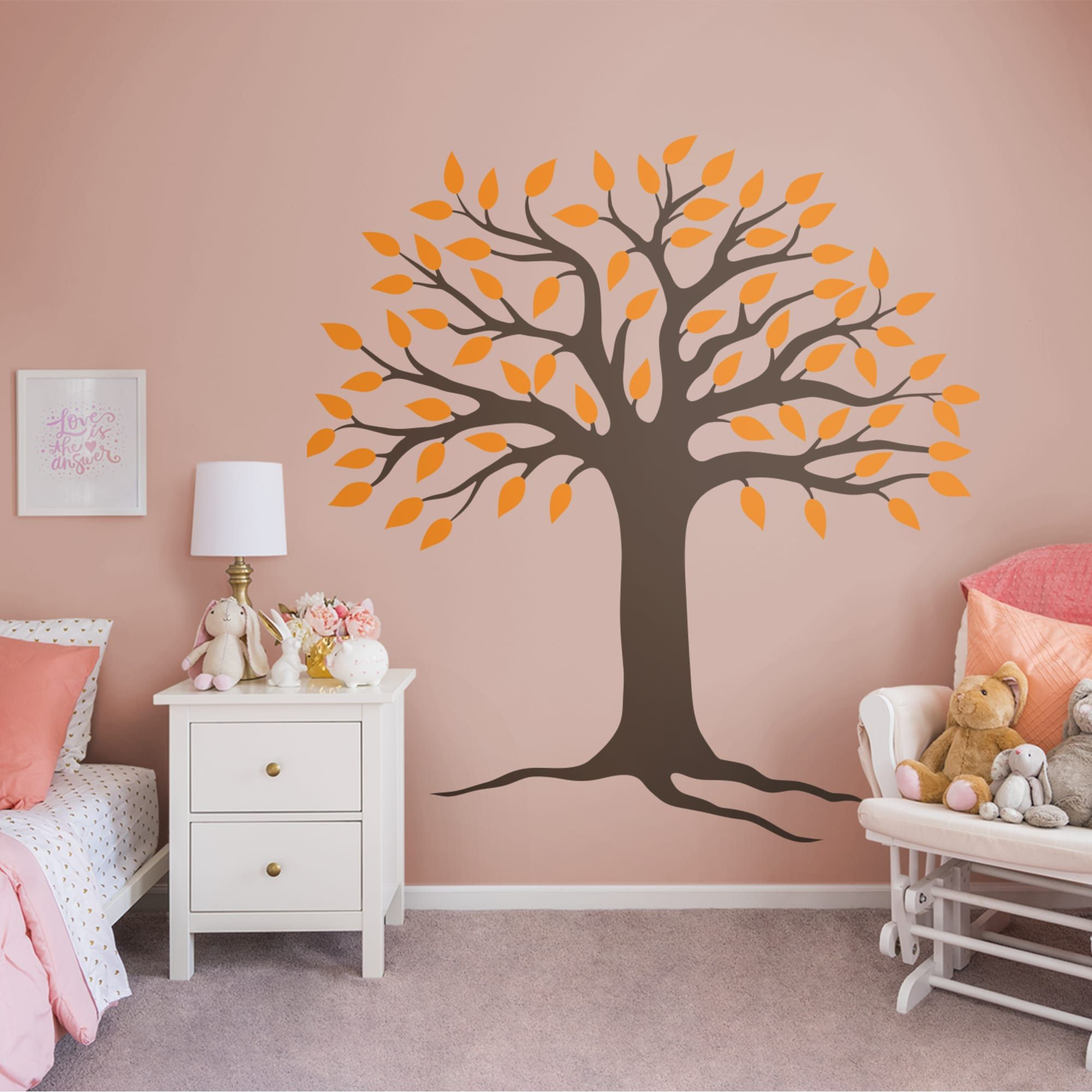 Spring Tree Brown Orange Huge Removable Wall Decal Wall