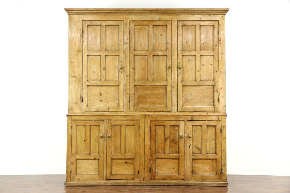 Irish Pine Antique 1850's Country Pine Primitive Cabinet ...