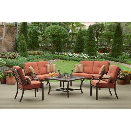 Better Homes And Gardens Sonoma Falls 5 Piece Patio Conversation Set With Fire  Pit,