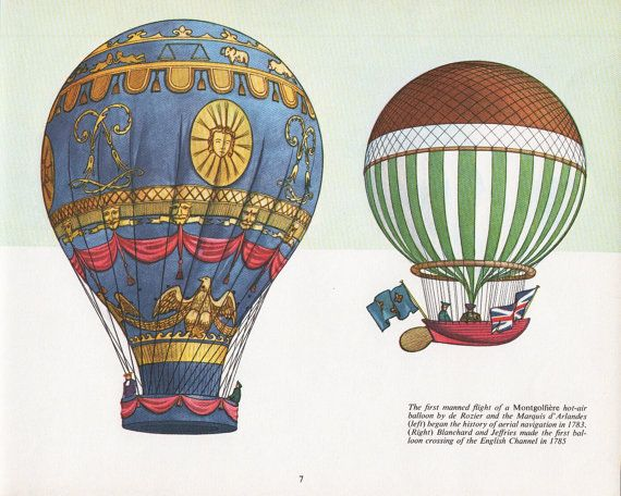 vintage Hot Air Balloon print two hot air balloons | Hot ...