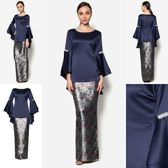 Baju Raya 2016  Kebaya Peplum Kimono Style Blouse Ideas  grey