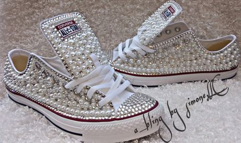 7111e063f1fe Adults custom bling and pearls converse by ABlingbySimonellc