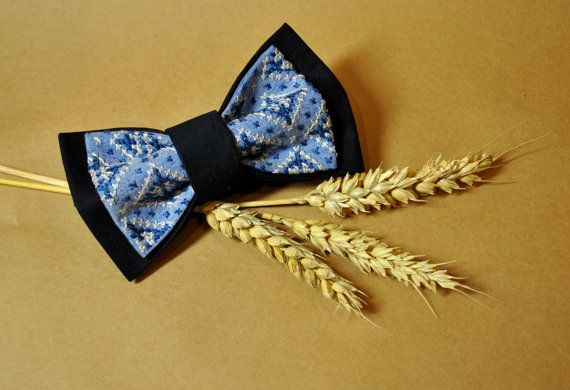 FREE SHIPPING Embroidered men bow tie Blue navy grey pre tied bow tie Wedding bow tie Groomsman pre-tied bow tie Eco friendly cross-stitch