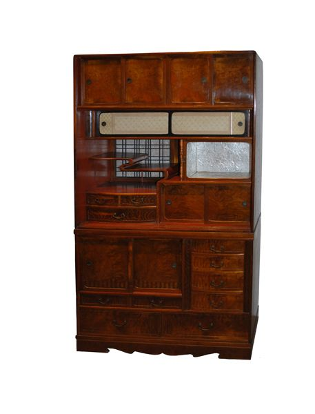 An antique Japanese double-stacking Chadansu or Tea Ceremony Cabinet with  beautiful zelkova wood door - An Antique Japanese Double-stacking Chadansu Or Tea Ceremony Cabinet