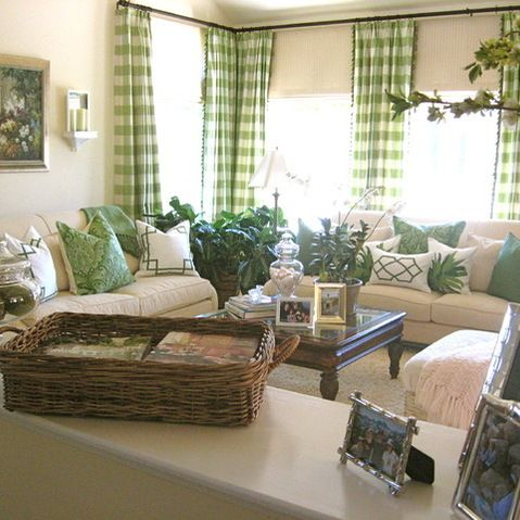 Buffalo Check Drapes Design Ideas Pictures Remodel And Decor With Images Living Room Green Traditional Design Living Room Traditional Living Room