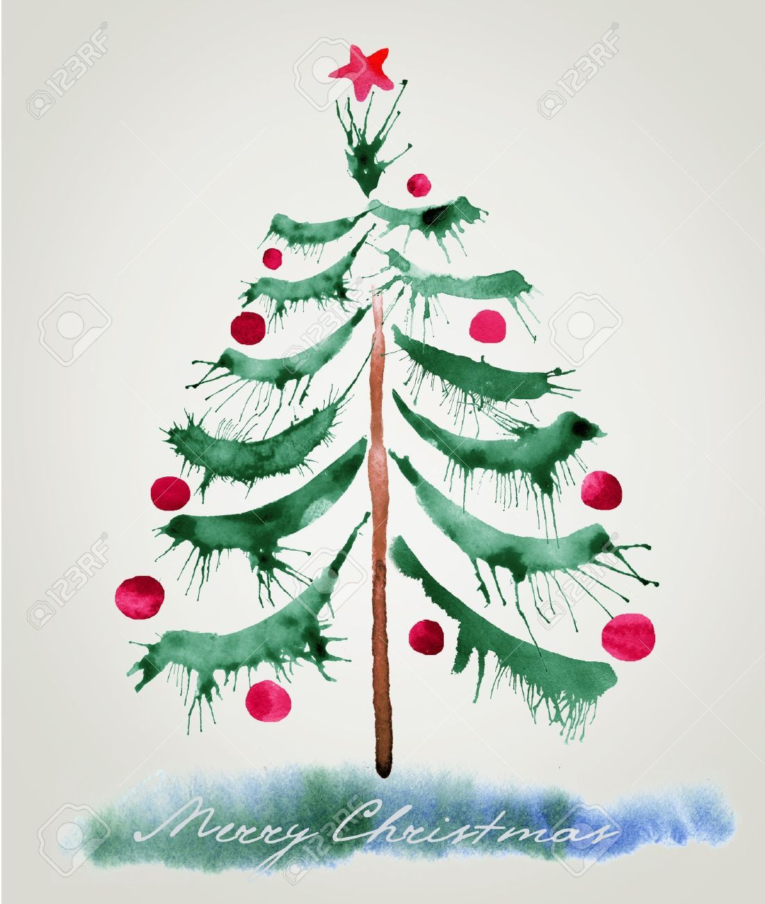 Christmas Tree Watercolor Cute Idea Paint Wet Swipes Of Green And Then Blow On It With A Plastic Straw