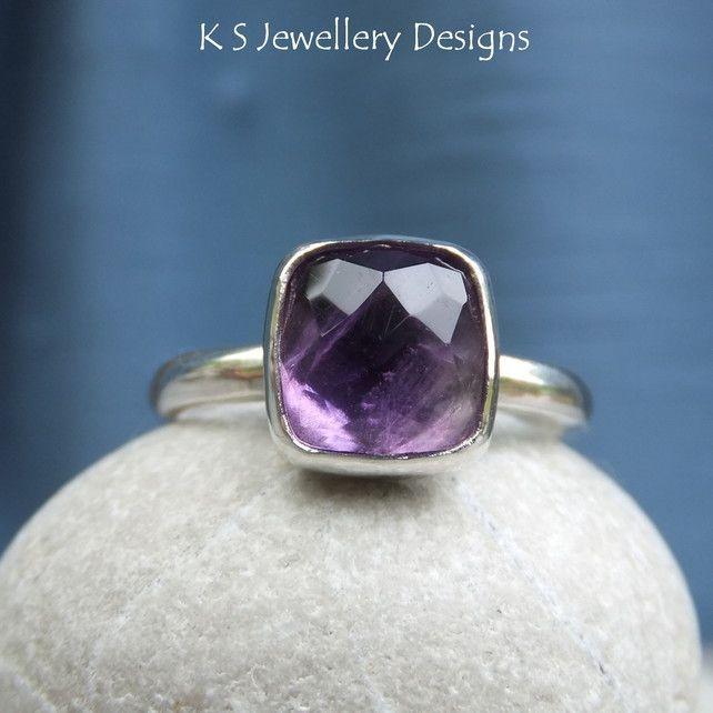 birthday ring from mum amethyst Sterling Silver Gemstone Ring - Handmade Metalwork Jewellery £45.00