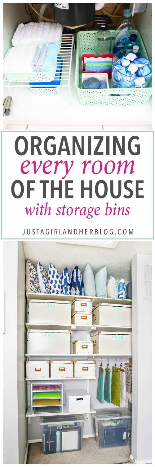 How to Organize Every Room of the House with Storage Bins - Just a Girl and Her Blog