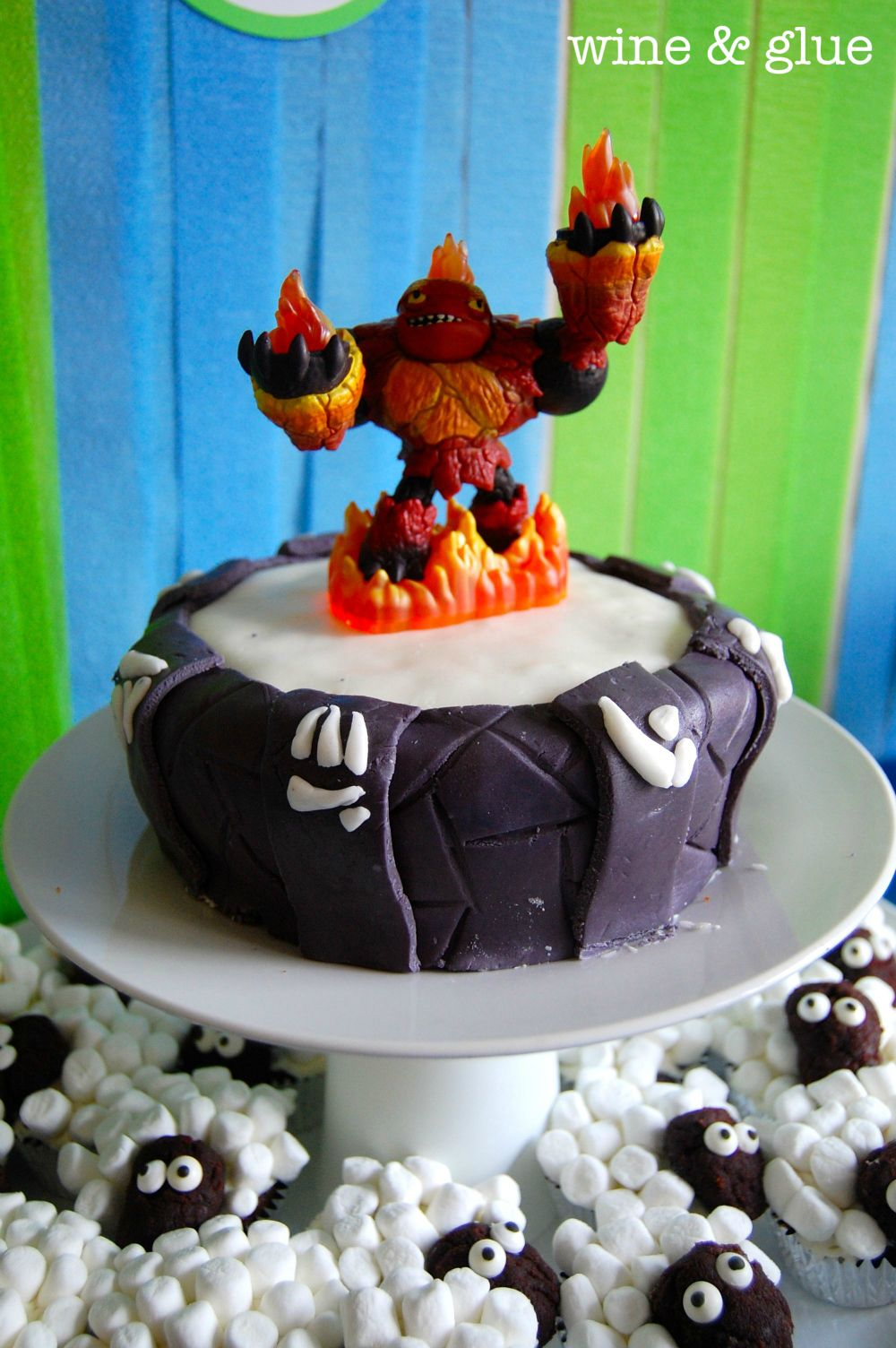 Wine and Glue Skylander Portal Cake Sheep Cupcakes 9th BD Party