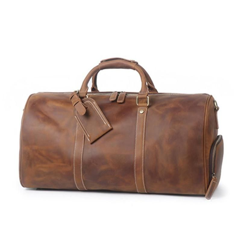 78b5ee959c Vintage Crazy Horse Leather Duffle Bag Travel Bag with Shoes Compartment  S12026