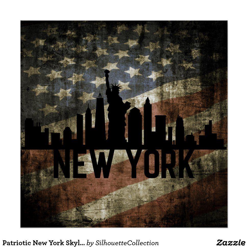 Patriotic New York Skyline Vintage American Flag Poster | Zazzle.com #americanflagart