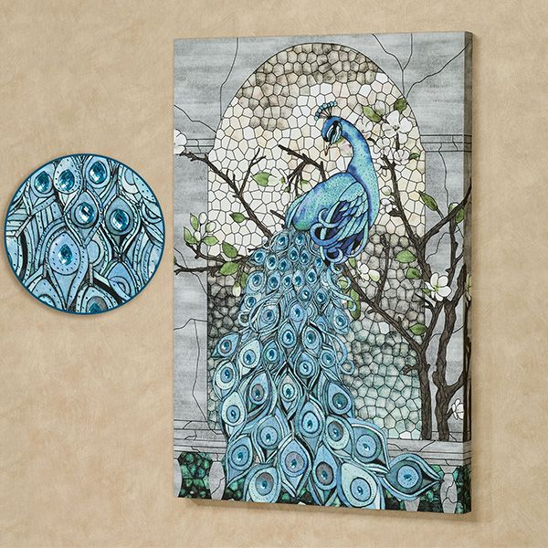 the jeweled peacock canvas wall art depicts a perching on canvas wall art id=89692