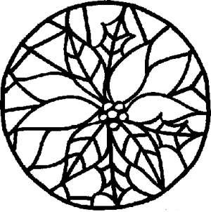 Free Kids Christmas Coloring Pages Stained Glass Poinsettia