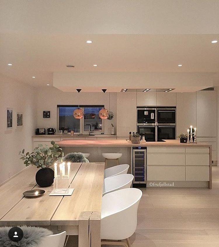 Modern minimalist kitchen island dining white blonde wood ...