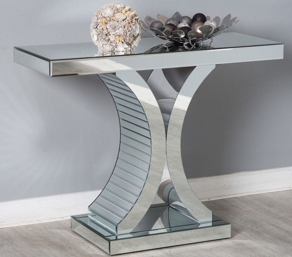 Details About Mirrored Console Hallway Side Table Silver Mirror Modern Glass Chic Furniture Silver Side Table Modern Glass Table [ 883 x 1000 Pixel ]