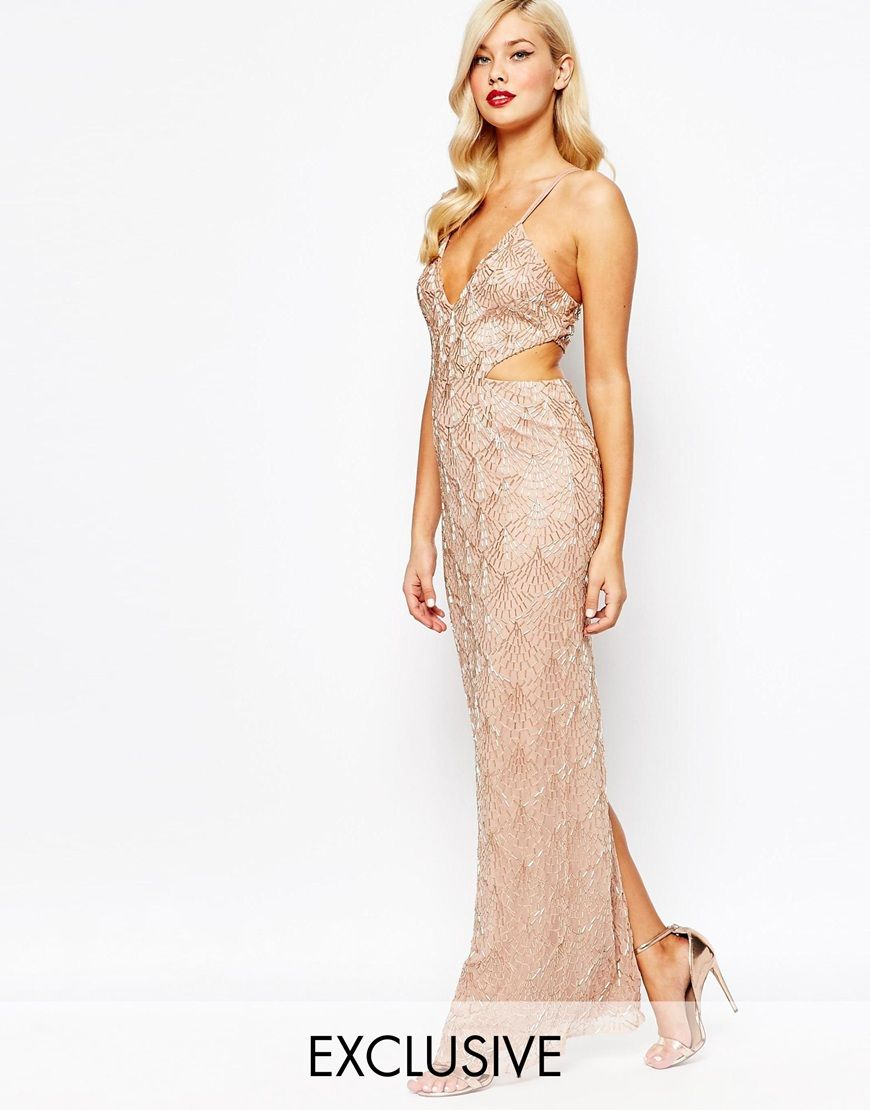 Amelia Rose All Over Embellished Cut Out Maxi Dress | PROM ...