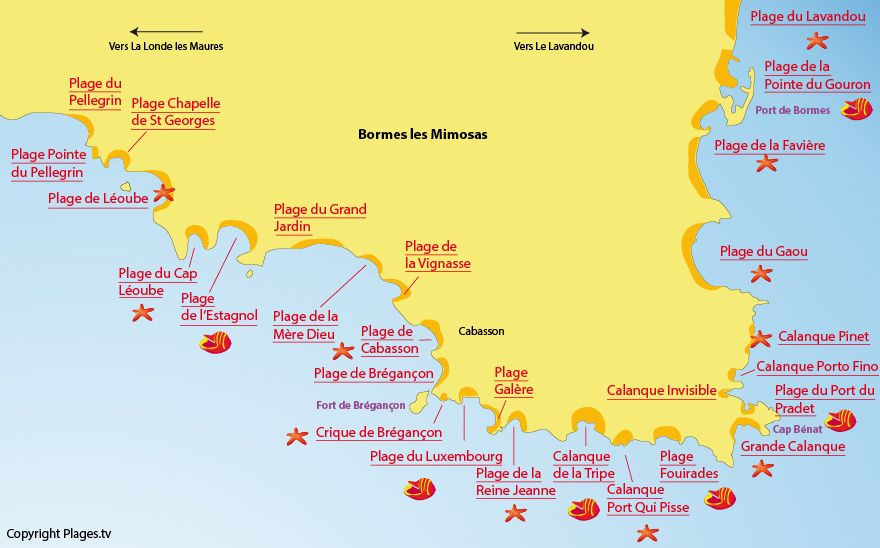 Carte Des Plages De Bormes Les Mimosas Dans Le Var Bormes Les