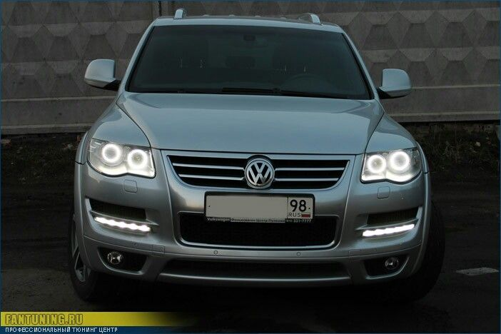 """Angel Eyes"" Headlights Touareg 2 Volkswagen 2008 2009 2010 08 09 10 Angel Eyes Headlights LED ..."
