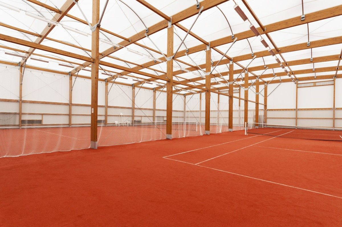 Covered sports hall and canopy construction, tennis court