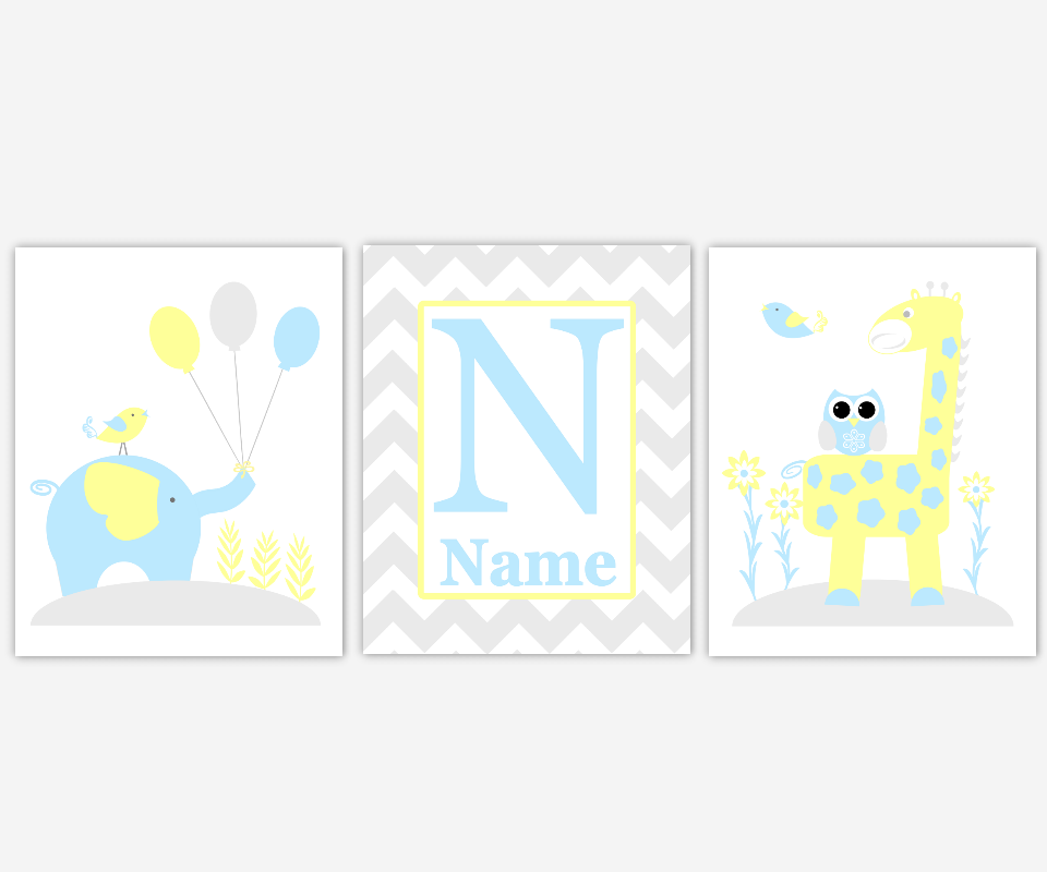 Personalized - Baby Nursery Canvas Wall Art - Blue Yellow Gray ...