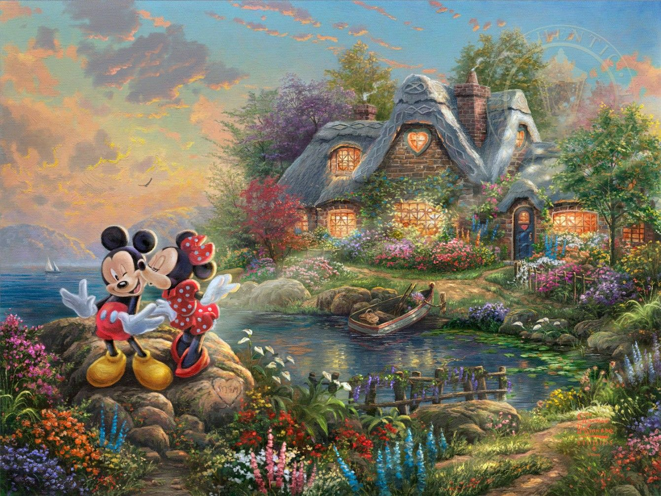 Thomas Kinkade Mickey Minnie Mouse Thomas Kinkade