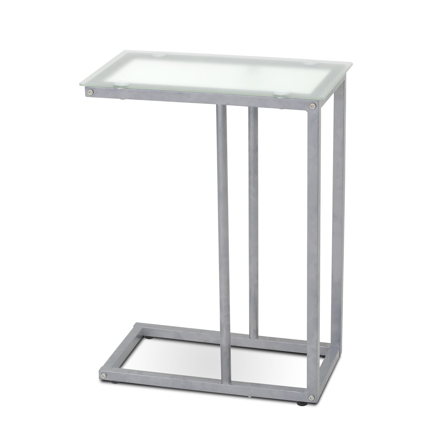 Furinno Kaca Clear Metal Grey Tempered Glass Side Table Temperred Color