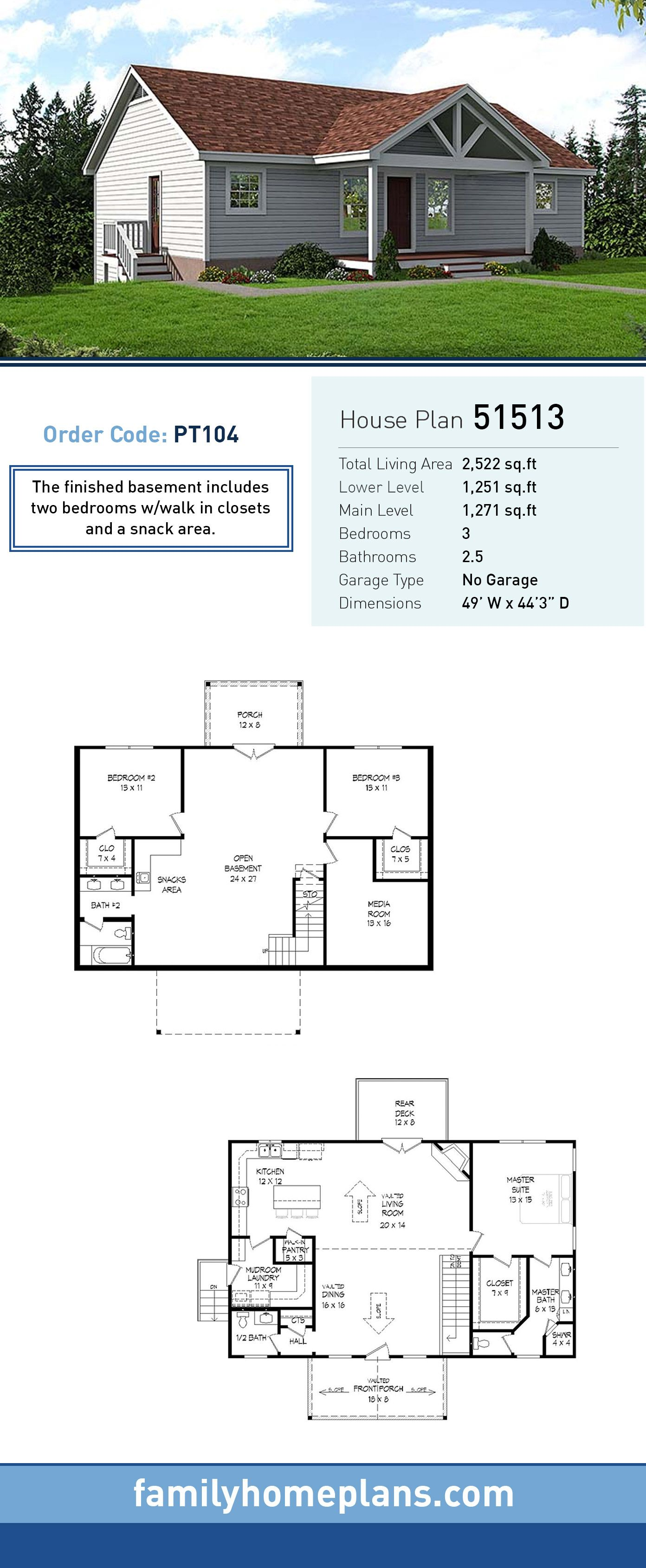 Traditional Style House Plan 51513 With 3 Bed 3 Bath Starter Home Plans Basement House Plans Ranch House Plans