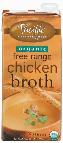 Pacific Natural Foods Organic Free Range Chicken Broth - Organic Broths are great to keep in your Paleo Cupboard for when you don't have time to make your own. Stock up on chicken and beef broths.