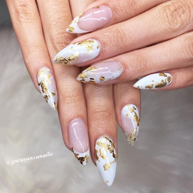 33 Ideas For Gorgeous Nails With Gold Foil Designs | Pinterest ...
