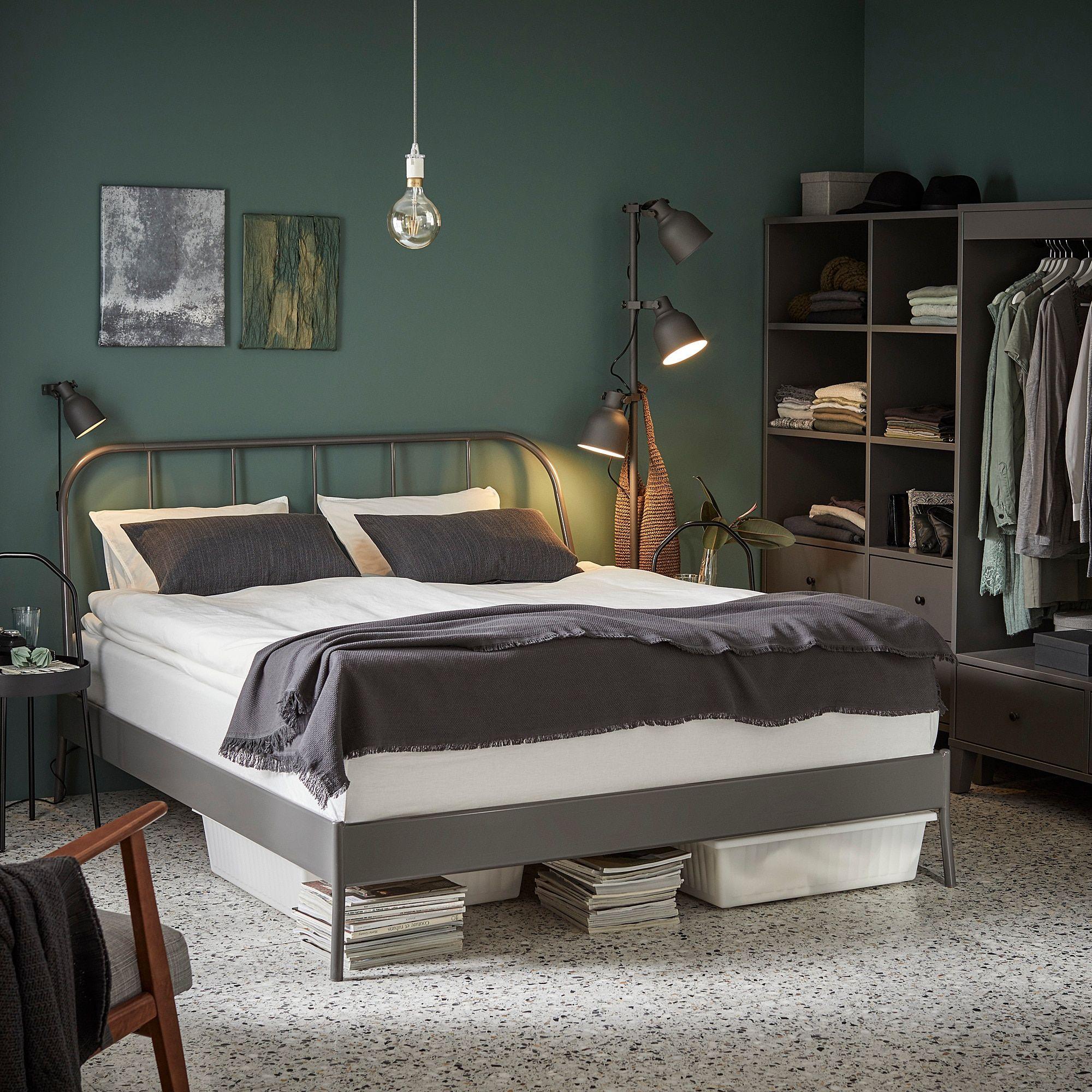 KOPARDAL Bed frame gray, Lönset Queen Bed frame