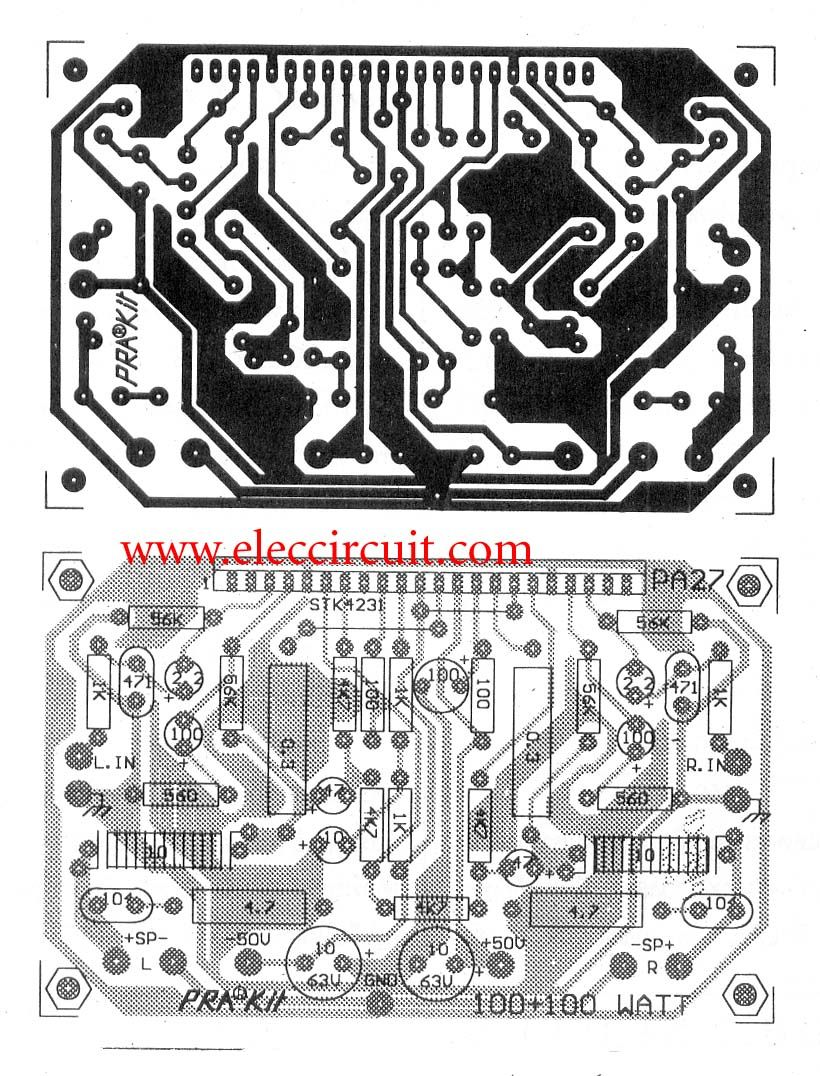 2 Channel 100w Stereo Audio Amplifier Circuit By Stk4231ii Easy Hifi Ocl 150w Rms Transistor Electronic Projects It Uses Stk4231 Ic Products To Create A Simple One All Pcb Small And Best Economical