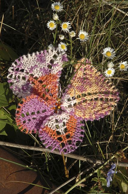 Math4Knitters, Crafty Living show 89 features a chat with Sally Melville and a pattern for butterflies knit from leftover sock yarn. Super-quick to knit and fun to make, these whimsical little insects can liven up any space.   Photo by Laura J. Gardner, The Journal Gazette.
