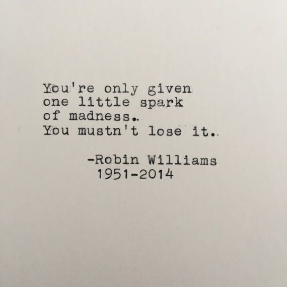 Robin Williams Madness Quote Typed on Typewriter