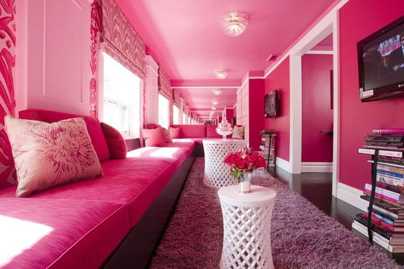 Hot pink room w/ hot pink banquettes. This is gorgeous | Pink Pink ...