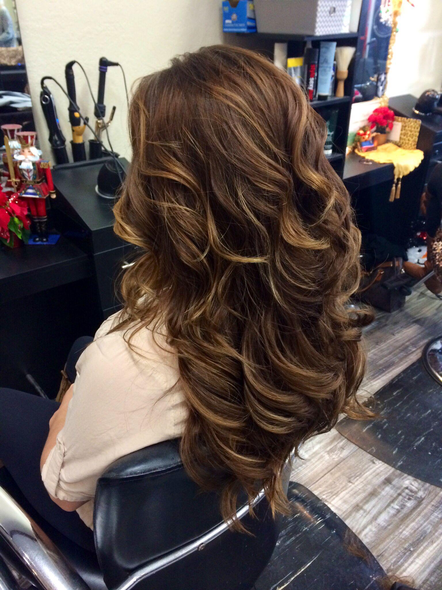 Natural Balayage Highlights Long Brown Hair With Highlights Curls Haircut Hair By Jayleen The Natural Hair Styles Natural Hair Salons Celebrity Hair Salon