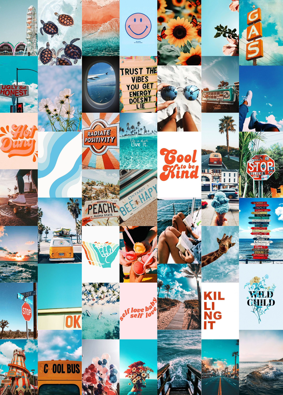 Summer Blues Wall Collage Kit (Digital Download)   Photo Wall Collage, Aesthetic Collage Kit, Boujee Wall Collage, Dorm Room Decor
